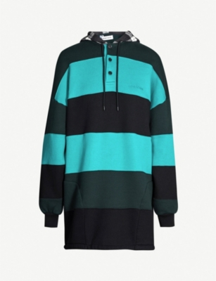 BALENCIAGA Striped patchwork cotton-jersey hoody dress