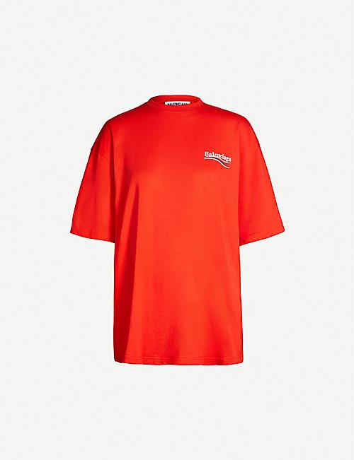 7bea00f1e5212 BALENCIAGA Logo-print oversized cotton-jersey T-shirt