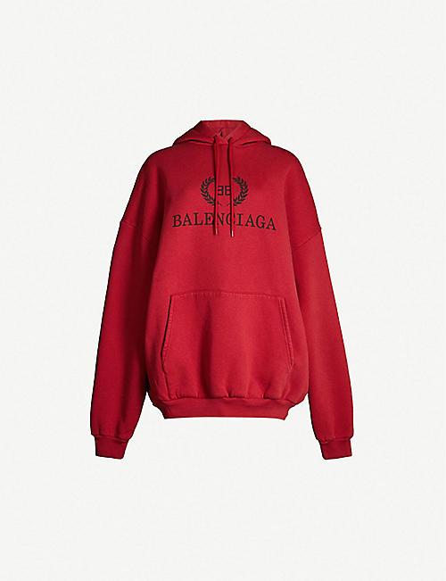 aa8acd3cd49 BALENCIAGA Logo-print cotton-jersey hoody