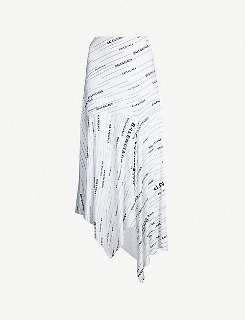 83809341f4c BALENCIAGA Logo-print jersey midi skirt