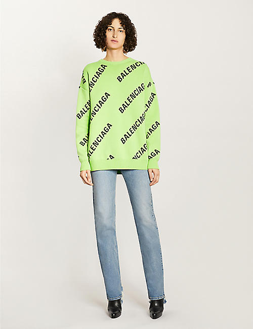 BALENCIAGA Logo-pattern cotton and wool-blend jumper