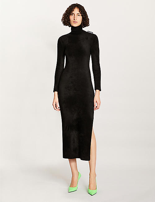 BALENCIAGA Turtleneck velvet midi dress