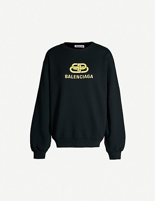 BALENCIAGA Turtleneck logo-intarsia cotton-knit jumper