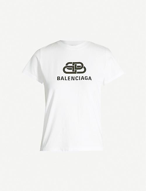 5a7acf068bf6 BALENCIAGA Logo-print oversized cotton-jersey T-shirt