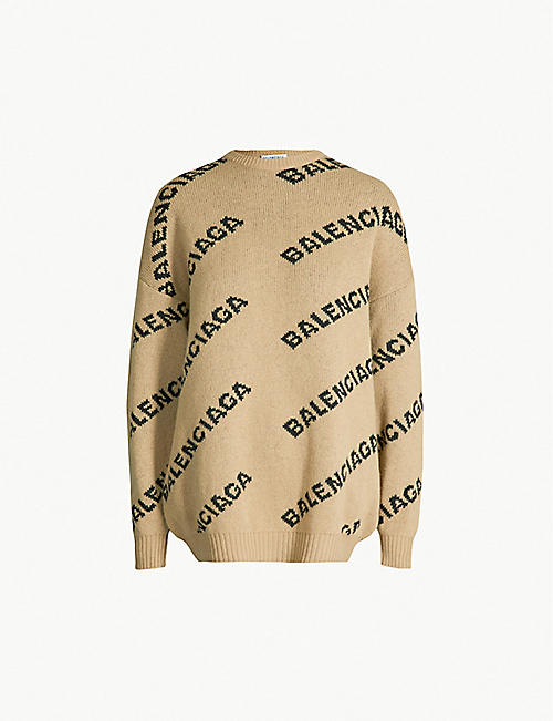 683adcbd012 BALENCIAGA Logo-intarsia wool-blend jumper