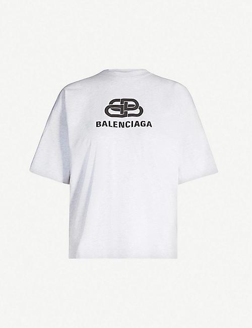 350153d8878d BALENCIAGA BB logo-print cotton-jersey T-shirt