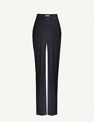 BALENCIAGA Pinstriped mid-rise tapered wool trousers