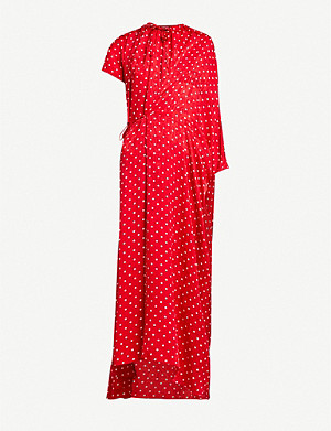 BALENCIAGA Asymmetric polka-dot silk maxi dress