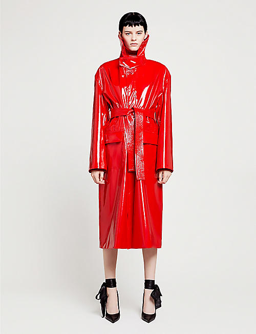 BALENCIAGA High-collar belted vinyl coat