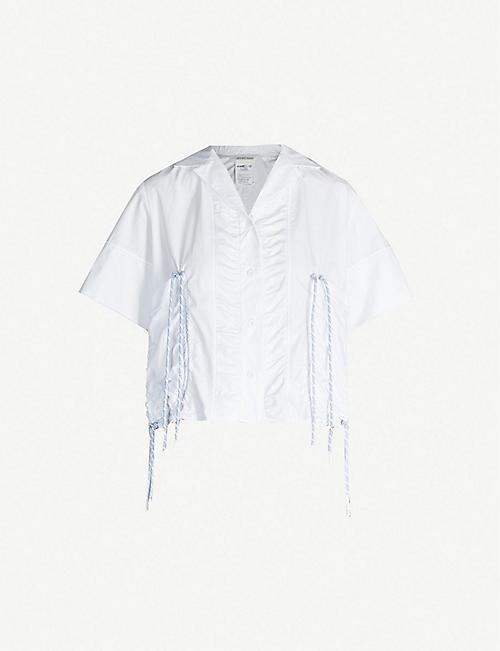 80bae51219e MAX MARA Plava contrasting drawstring-trim cotton-poplin shirt