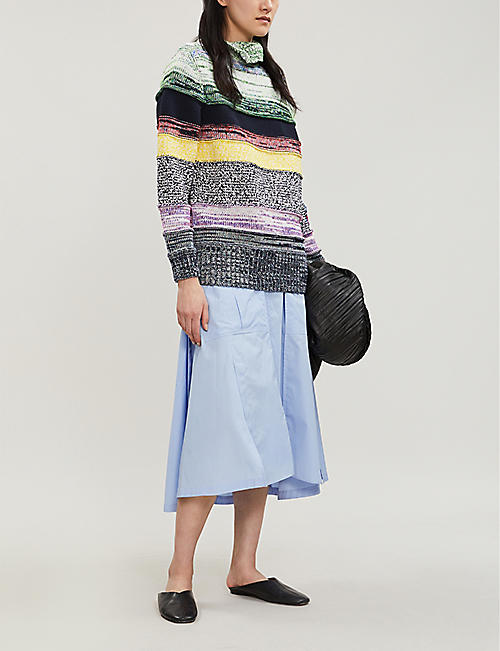 MAX MARA Striped branded-patch knitted jumper