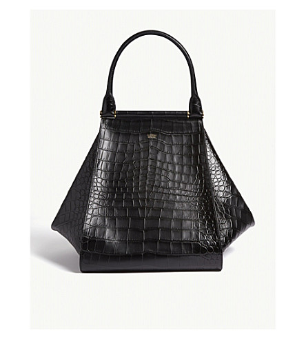 ... Croc-embossed leather maxi shopper bag (Black. PreviousNext cba01aa76a40d