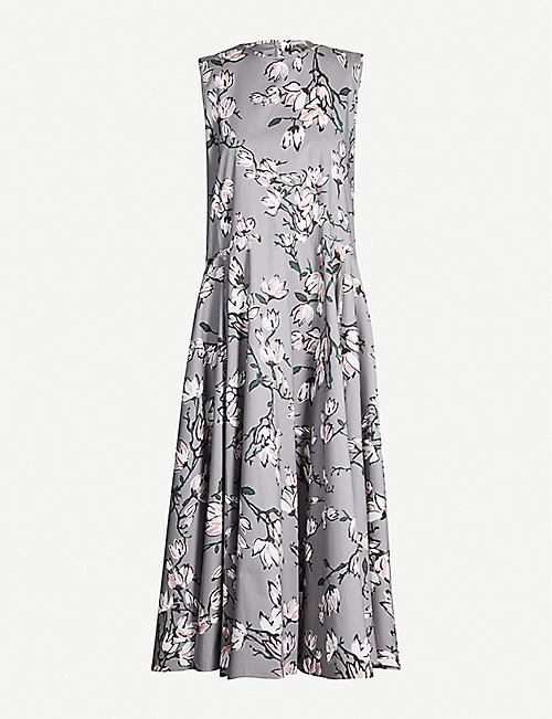 S MAX MARA Corrado floral-print flared cotton dress