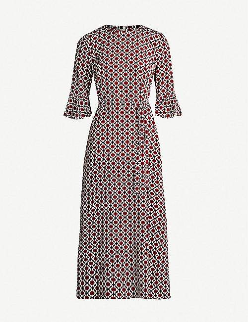 S MAX MARA Cremona ruffled-cuffs silk midi dress