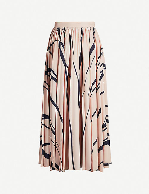 SPORTMAX Denis high-waist printed crepe midi skirt