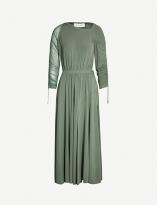 SPORTMAX Duccio ruched-sleeve flared woven dress