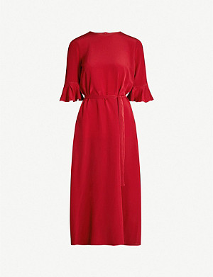 S MAX MARA Entrata flared-sleeve silk-crepe dress