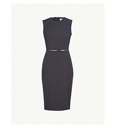 8e19b15d570 MAX MARA Fagotto leather belt stretch-wool dress (Navy