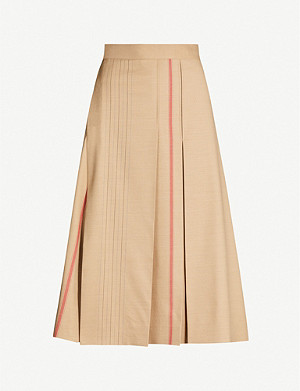 SPORTMAX Pleated cotton-blend midi wrap-skirt