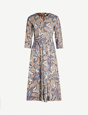 S MAX MARA Lacca floral-print waist-tie cotton dress
