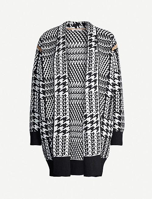 MAX MARA ELEGANTE Malizia houndstooth wool and cashmere-blend cardigan