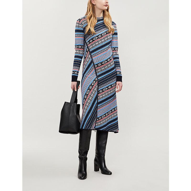 Mammola Fair Isle-Knit Wool Dress, Turquoise