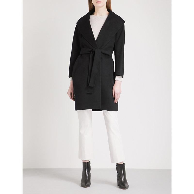 Messi Wool Wrap Coat, Black