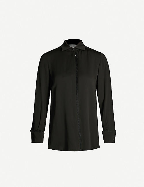 MAX MARA Fringed-trim relaxed-fit silk shirt