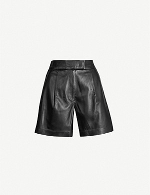 SPORTMAX Nepeta high-waist leather shorts
