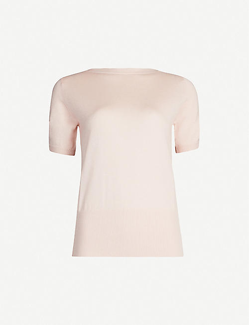 MAX MARA Osteo cutout-sleeve silk and cashmere-blend T-shirt