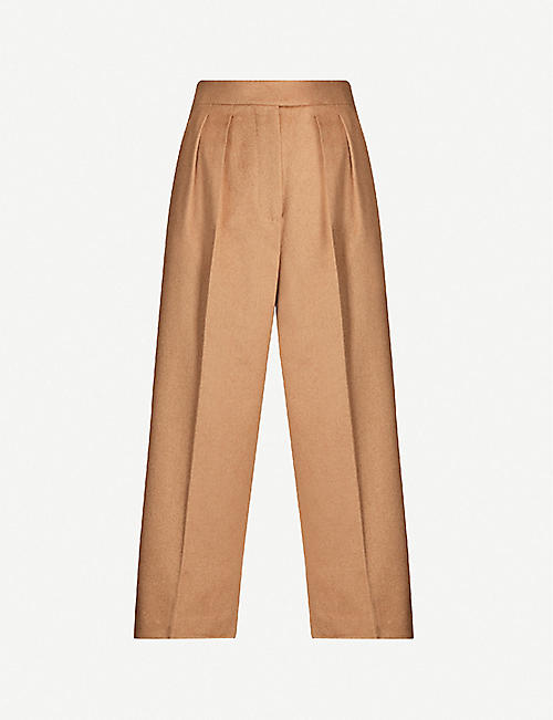 MAX MARA Peplo high-rise camel wool wide-leg trousers