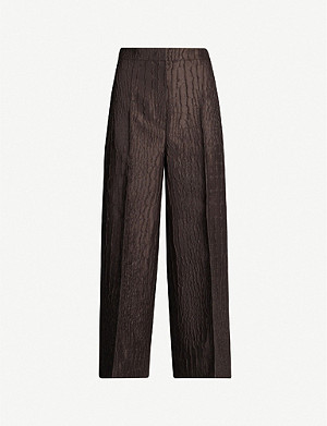 MAX MARA Pernice high-rise textured woven wide-leg trousers