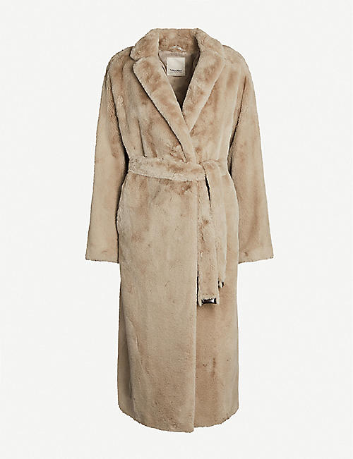 S MAX MARA Piroga notch-lapel collar faux-fur coat
