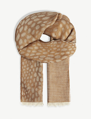 MAX MARA Crocodile-print wool and modal-blend scarf