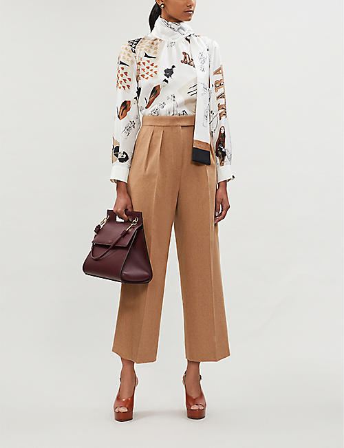 MAX MARA Riccio high-neck printed silk shirt