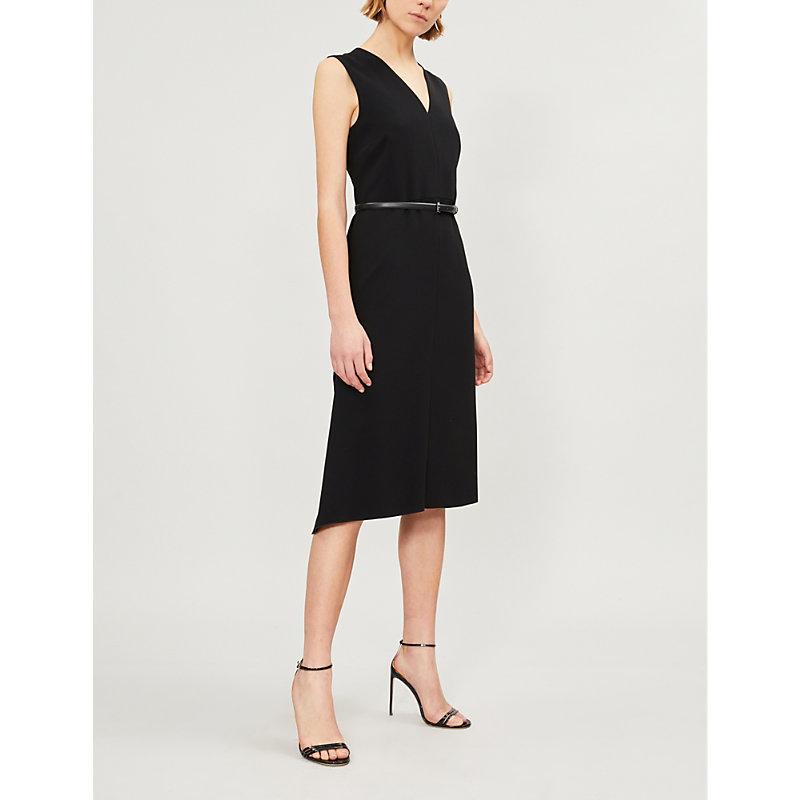 Robin Belted Side-Ruffle Sheath Dress in Black