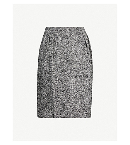Max Mara Rosita Marled Wool-Blend BouclÉ Skirt In Grey