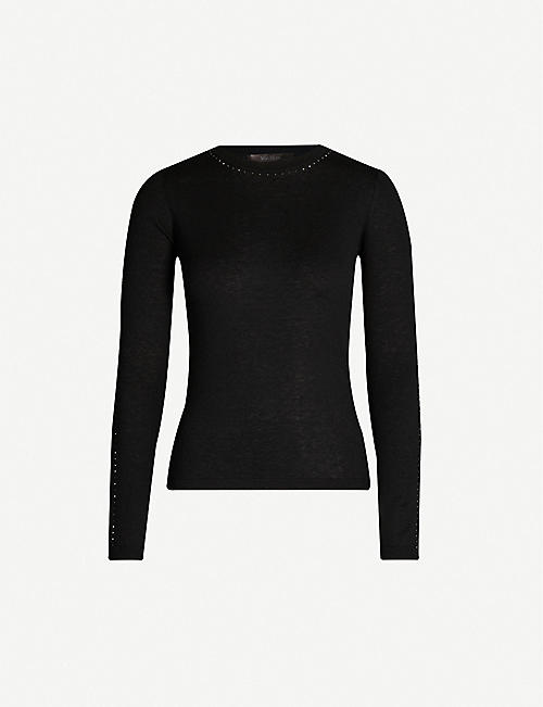 MAX MARA ELEGANTE Solange diamante-embellished silk and cashmere-blend jumper