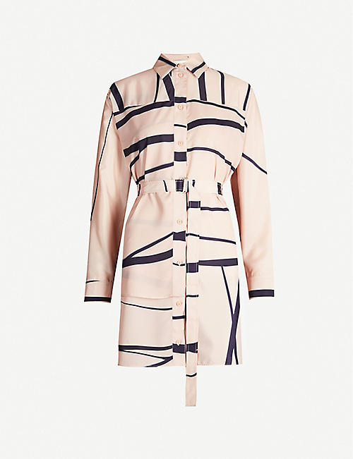SPORTMAX Uditore graphic-print belted crepe shirt