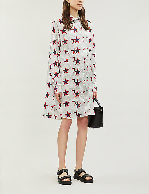 S MAX MARA Star-print silk-satin shirt
