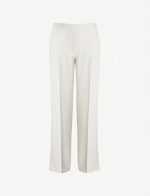 MAX MARA Vicario satin-trimmed flared high-rise crepe trousers
