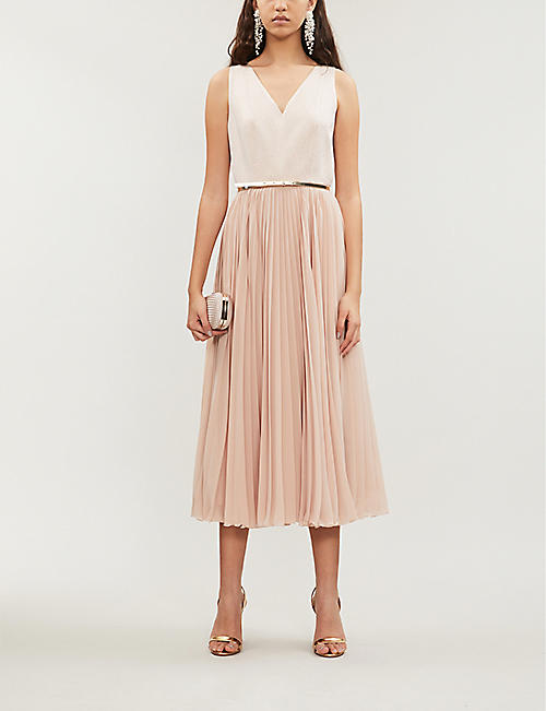 MAX MARA STUDIO Vorra embroidered sleeveless crepe midi dress