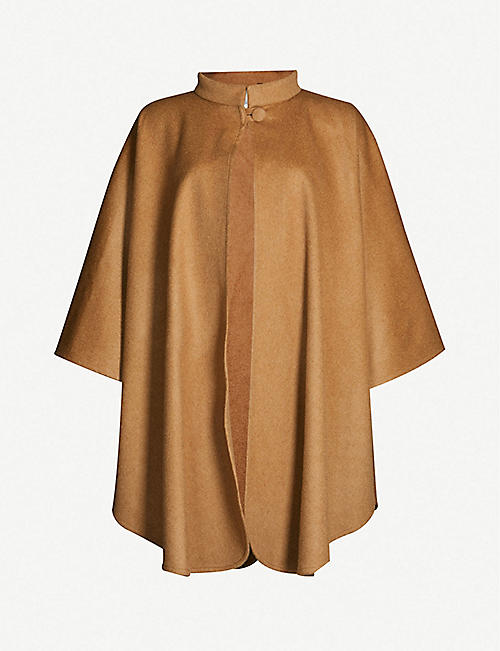 MAX MARA High-neck camel wool cape