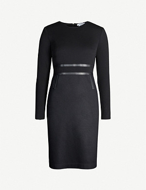MAX MARA Xeno leather-trim wool mini dress