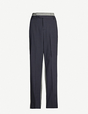 SPORTMAX Two-tone high-rise wide stretch-wool trousers