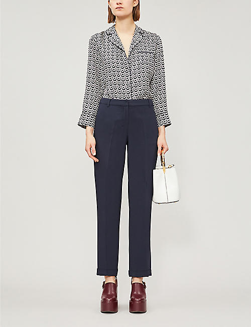 S MAX MARA Geometric contrast-piped silk-twill shirt