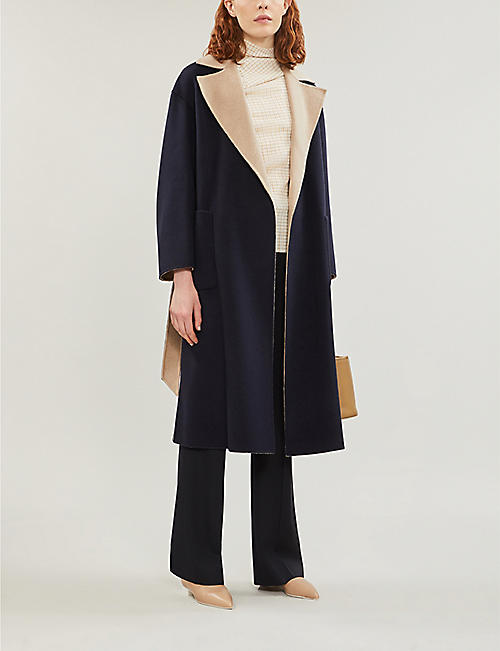 MAX MARA STUDIO Zibetto two-tone longline wool coat