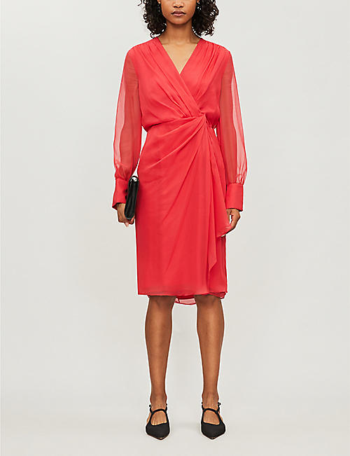 MAX MARA ELEGANTE Zulma V-neck silk dress