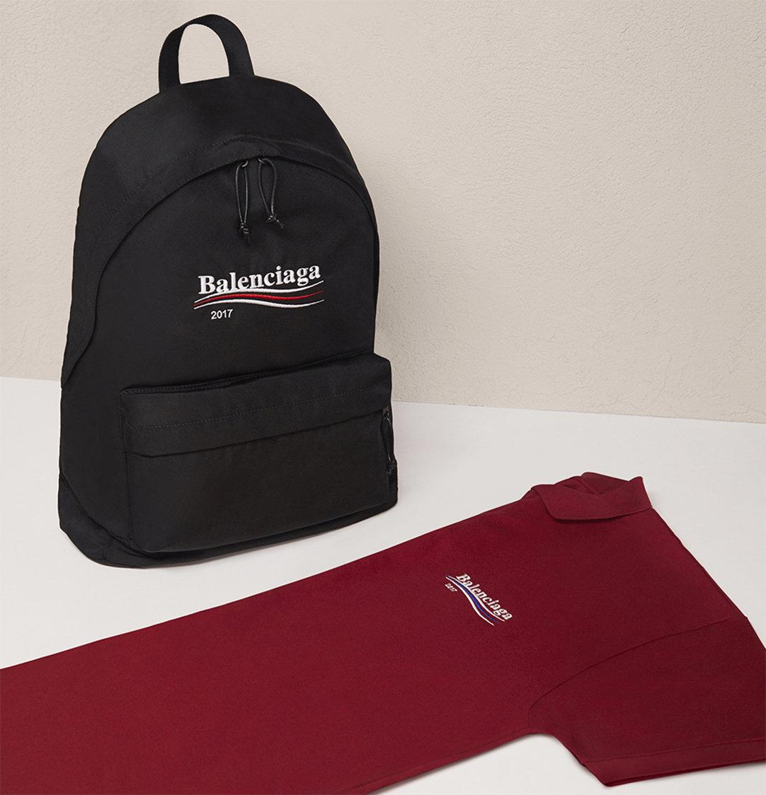 timeless design 4f1ac b270e Balenciaga - Bernie Sanders logo backpack and polo shirt