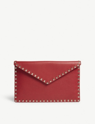 VALENTINO Rockstud large grained leather envelope clutch